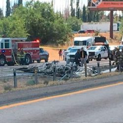 A small plane has crashed onto I-15 near Riverdale, snarling freeway traffic.