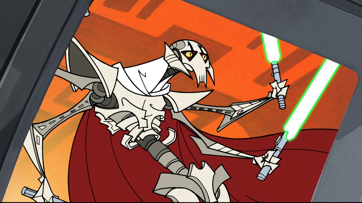 General Grevious' chest cavity is crushed by Mace Windu