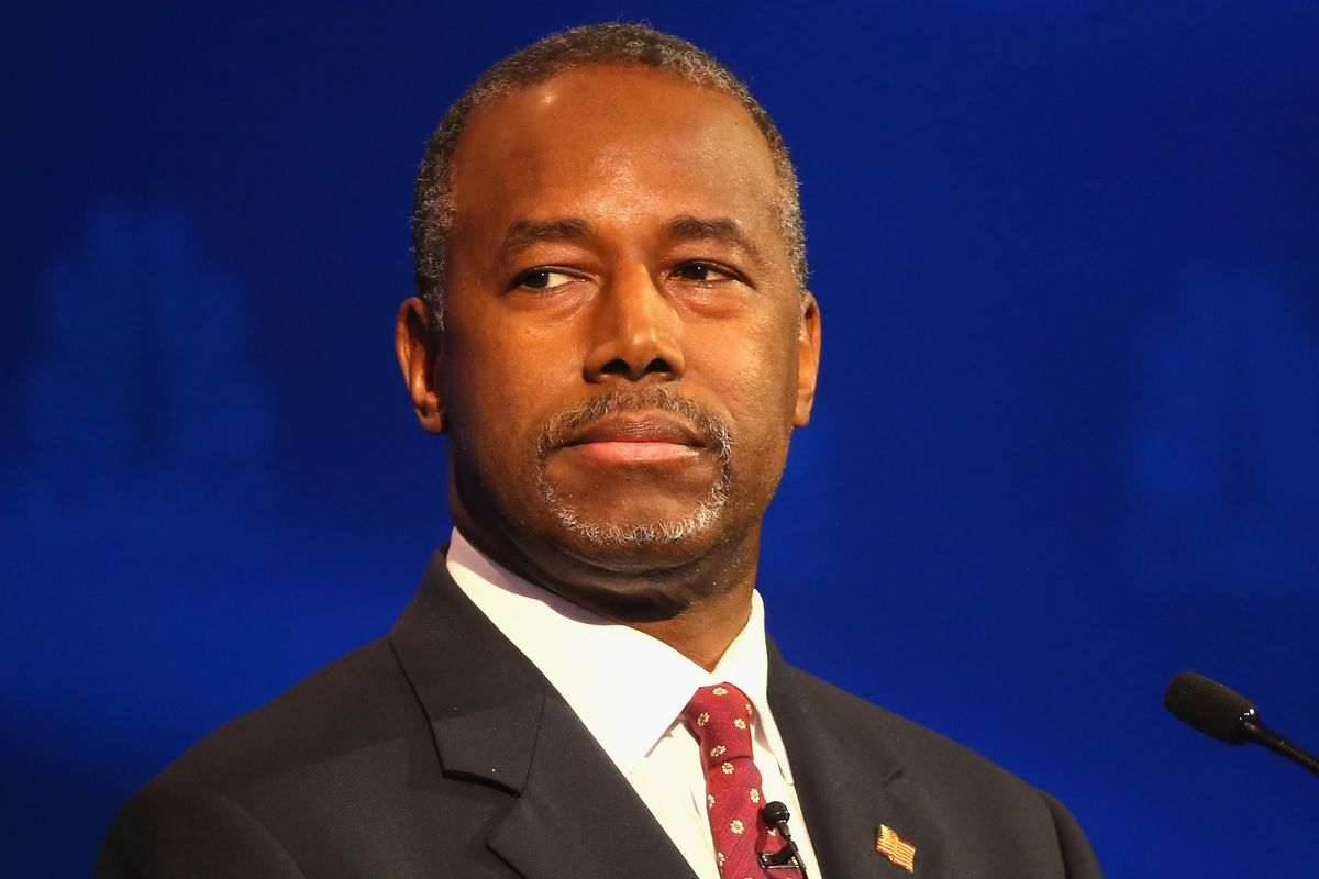 Presidential candidate Ben Carson looks on during the CNBC Republican presidential debate at University of Colorado's Coors Events Center October 28, 2015, in Boulder, Colorado.