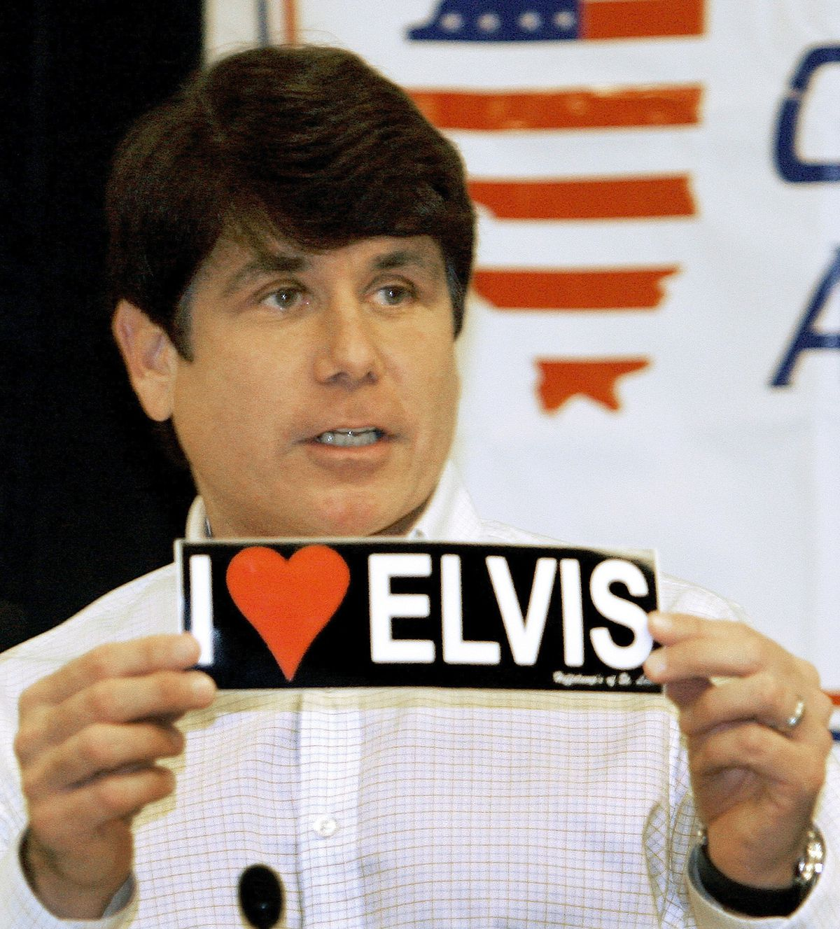 Illinois former Gov. Rod Blagojevich, an Elvis Presley fan, shown in 2007, has performed with an Elvis-inspired rock band while in prison.   Seth Perlman/Associated Press