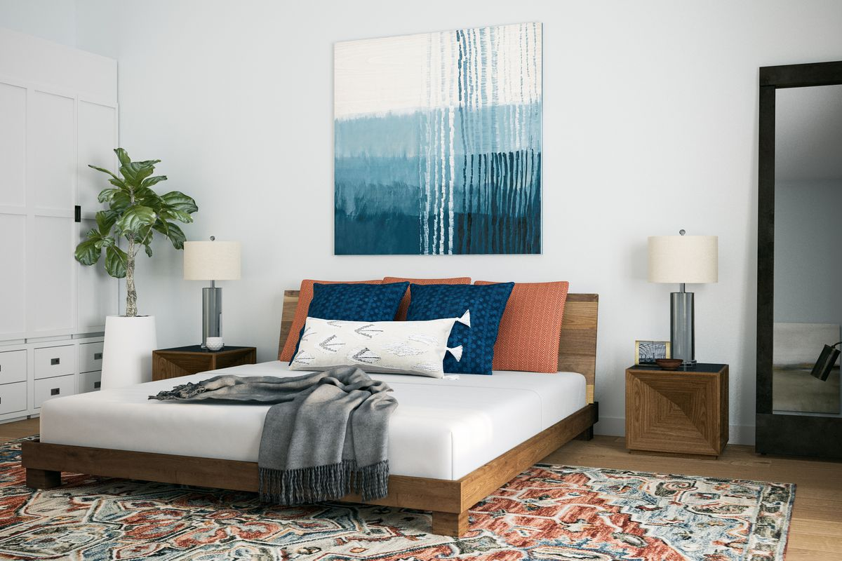 Rendering of a wooden platform bed on a patterned rug, with a blue and white wall hanging in the back.