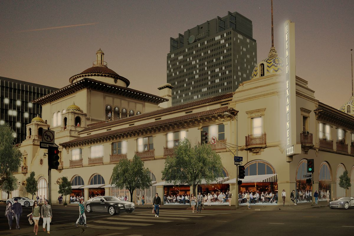 A rendering of the building's exterior, post-renovation.