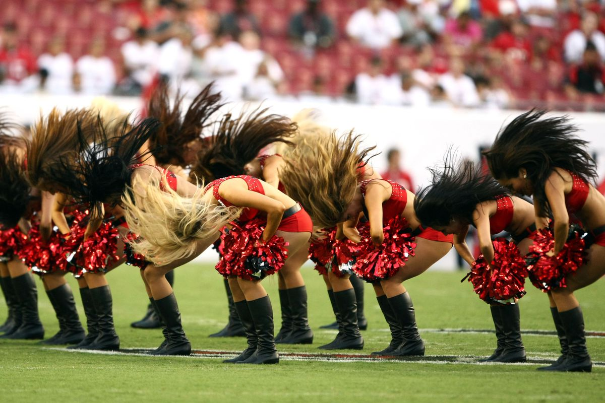 Aug 17, 2012;  Tampa, FL, USA;  Tampa Bay Buccaneers cheerleaders perform prior to the game against the Tennessee Titans at Raymond James Stadium. Mandatory Credit: Douglas Jones-US PRESSWIRE