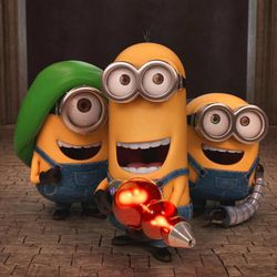 """Stuart, Kevin and Bob dig their new gadgets in """"Minions."""""""