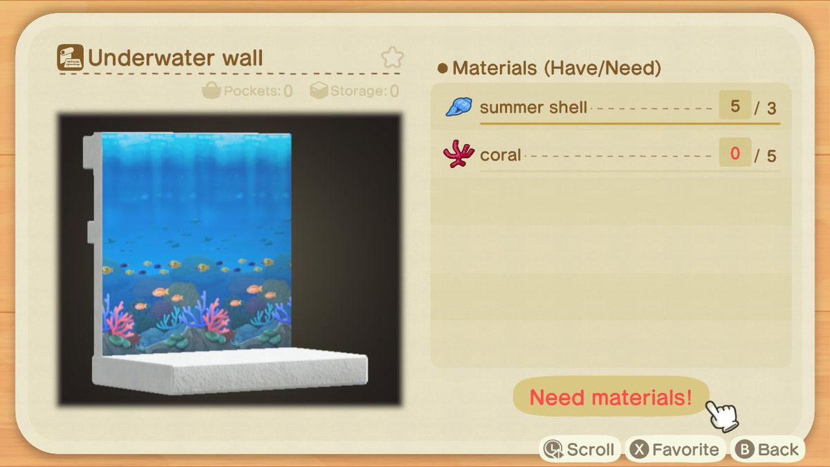 A recipe list for an Underwater Wall
