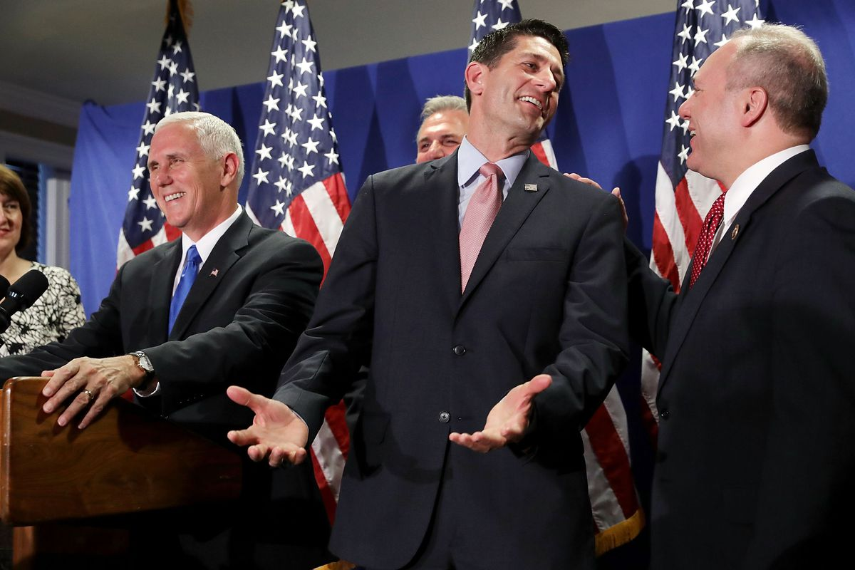 Republican Vice Presidential Nominee Gov. Mike Pence Attends House GOP Weekly Conference
