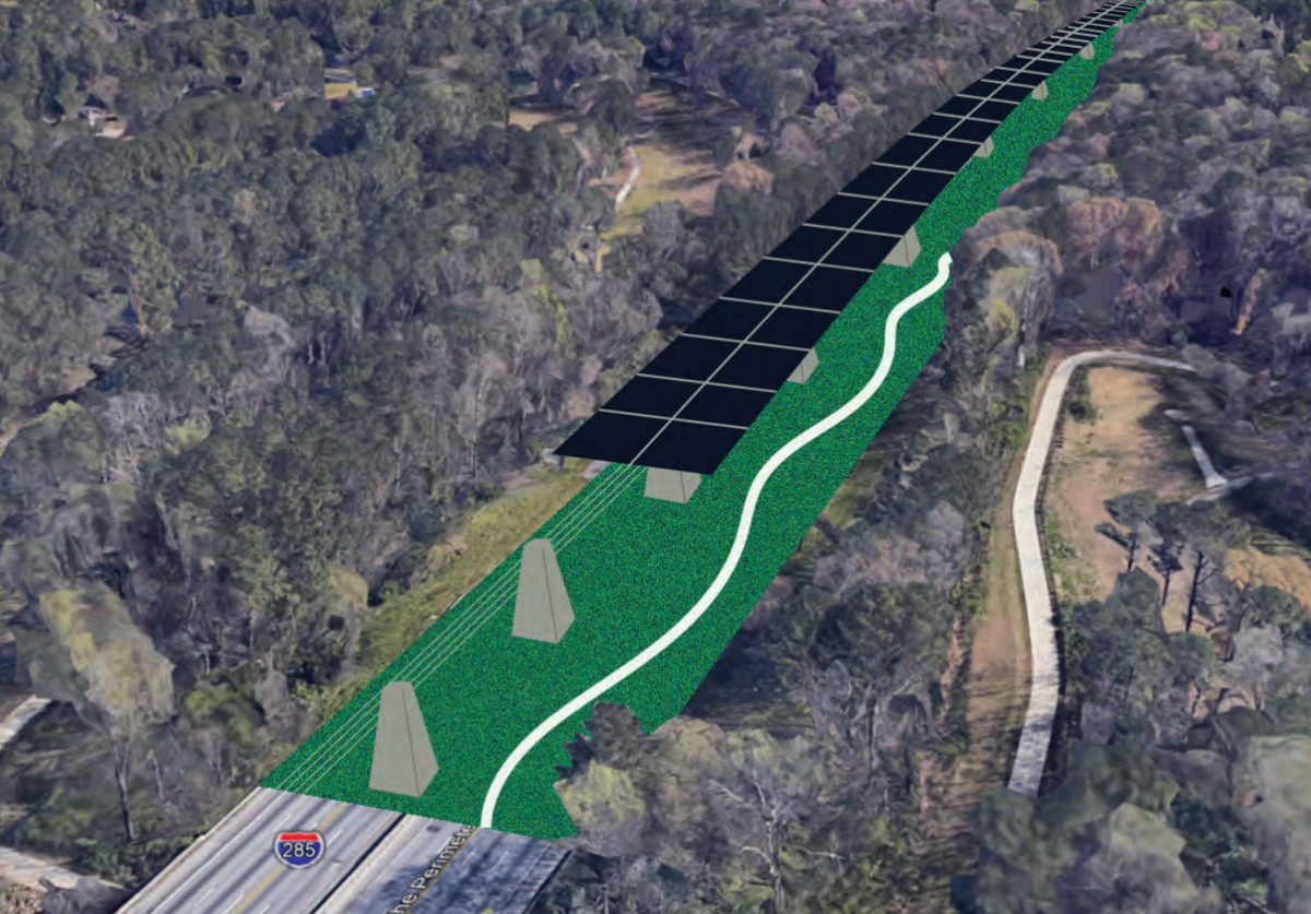 A rendering of solar panels above high-speed rail above a linear park and trails.