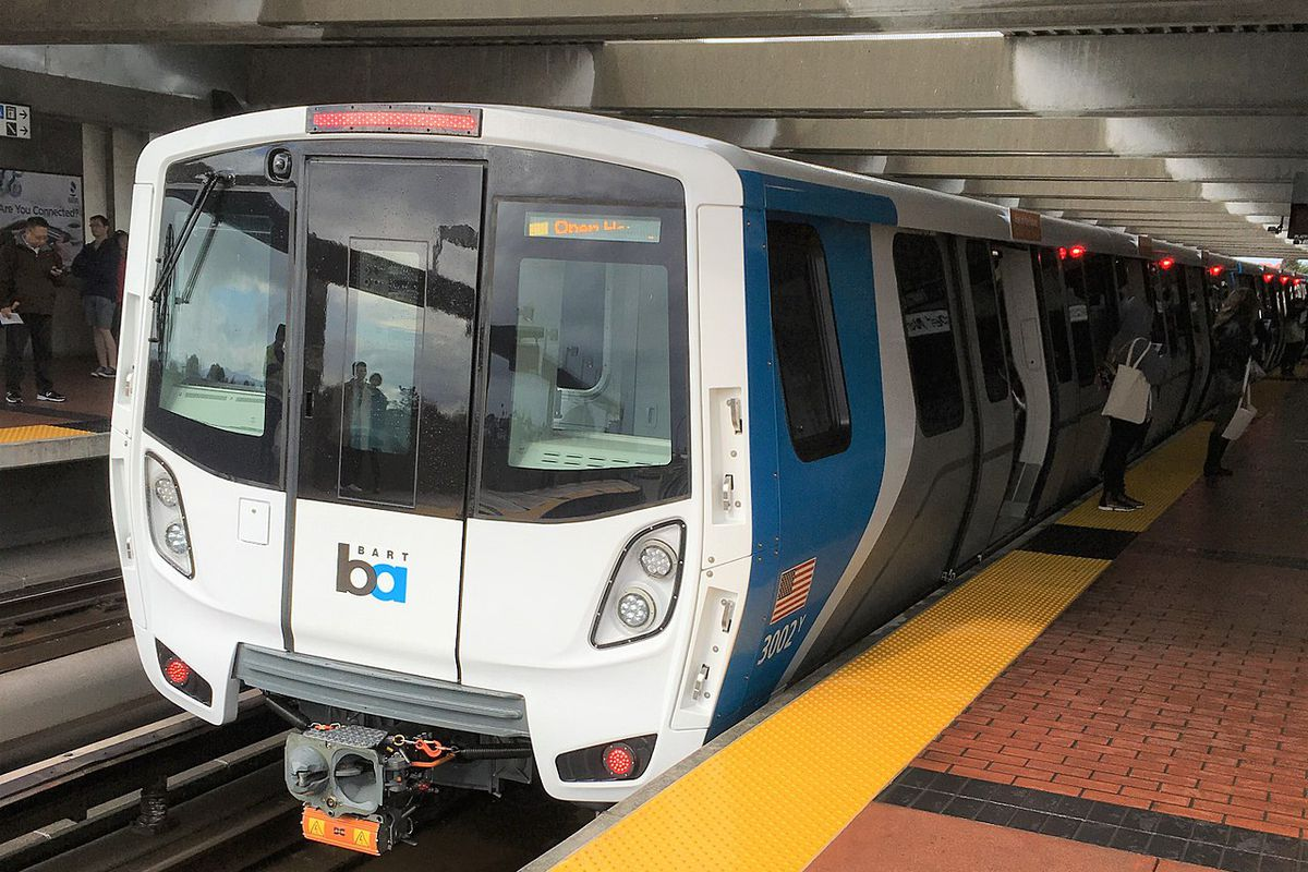 A new car on display during a BART open house.