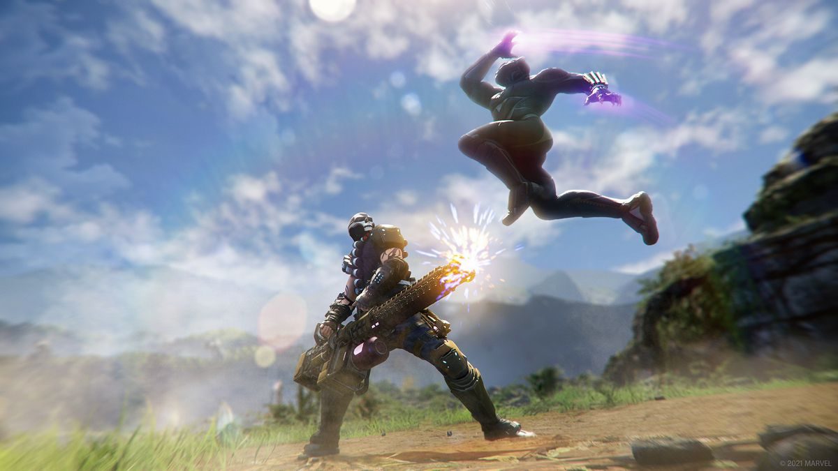 Black Panther leaps at an enemy in Marvel's Avengers: War for Wakanda