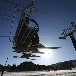 Skiers ride the First Time lift as Park City Mountain Resort in Park City opens for the 2020-21 ski season on Friday, Nov. 20, 2020.