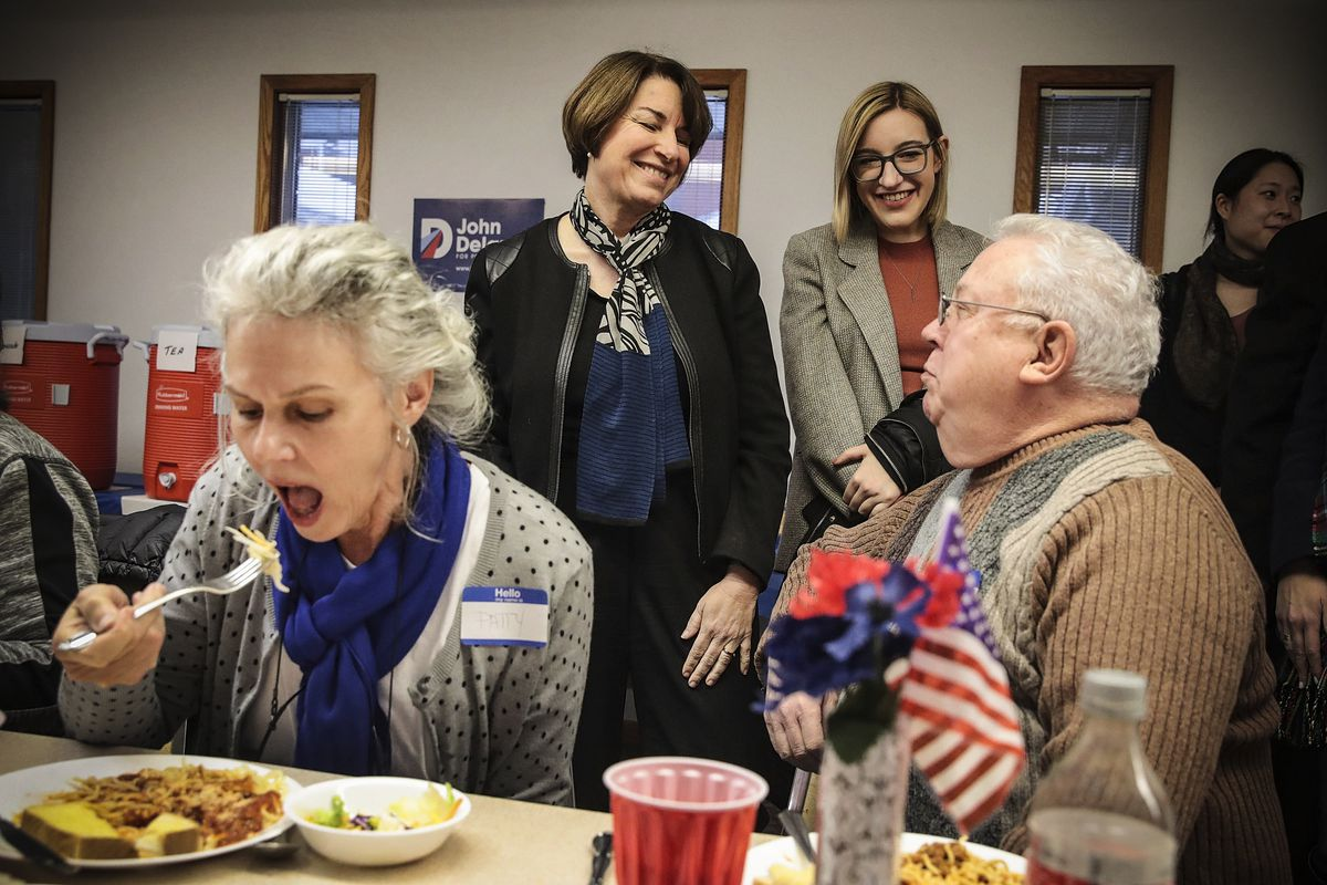 Sen. Amy Klobuchar (D-MN) speaks to guests during a campaign stop at the Monroe County Democrats spaghetti supper at the First Christian Church in Albia, Iowa, on February 17, 2019.