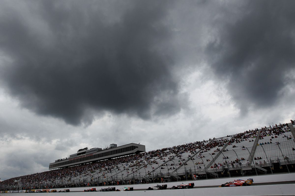 These rain-laden skies were not the only storm clouds looming over the MoveThatBlock.com 225 at Loudon, NH (Photo by Nick Laham/Getty Images)