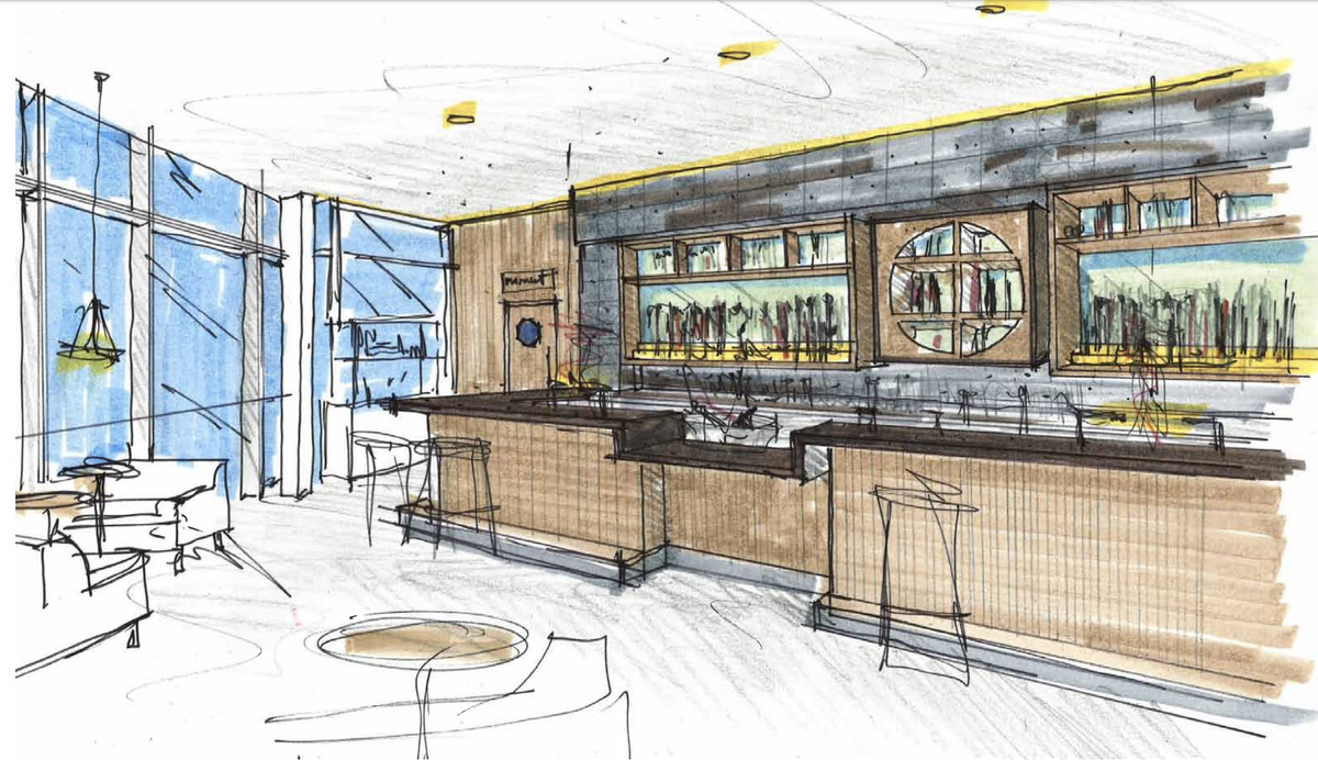 A sketched rendering of the Cold Drinks Bar at Seattle's proposed China Live.