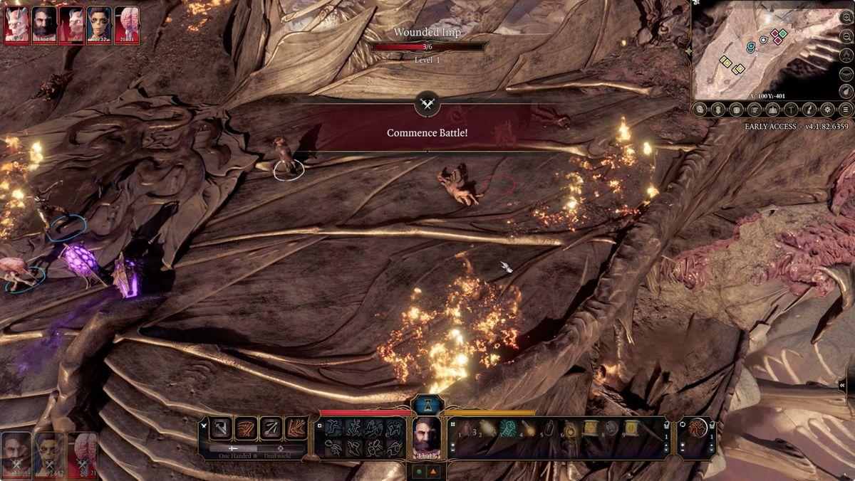 Baldur's Gate 3 Commence Battle screen