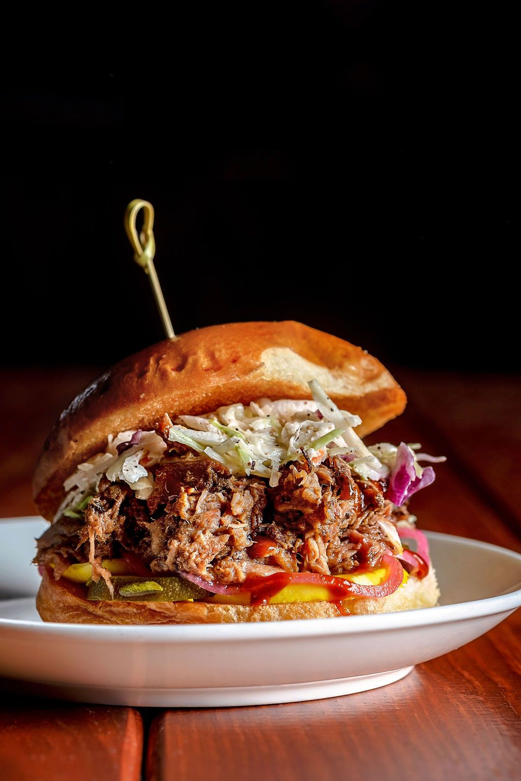 A North Carolina-style pulled pork sandwich from Money Muscle BBQ