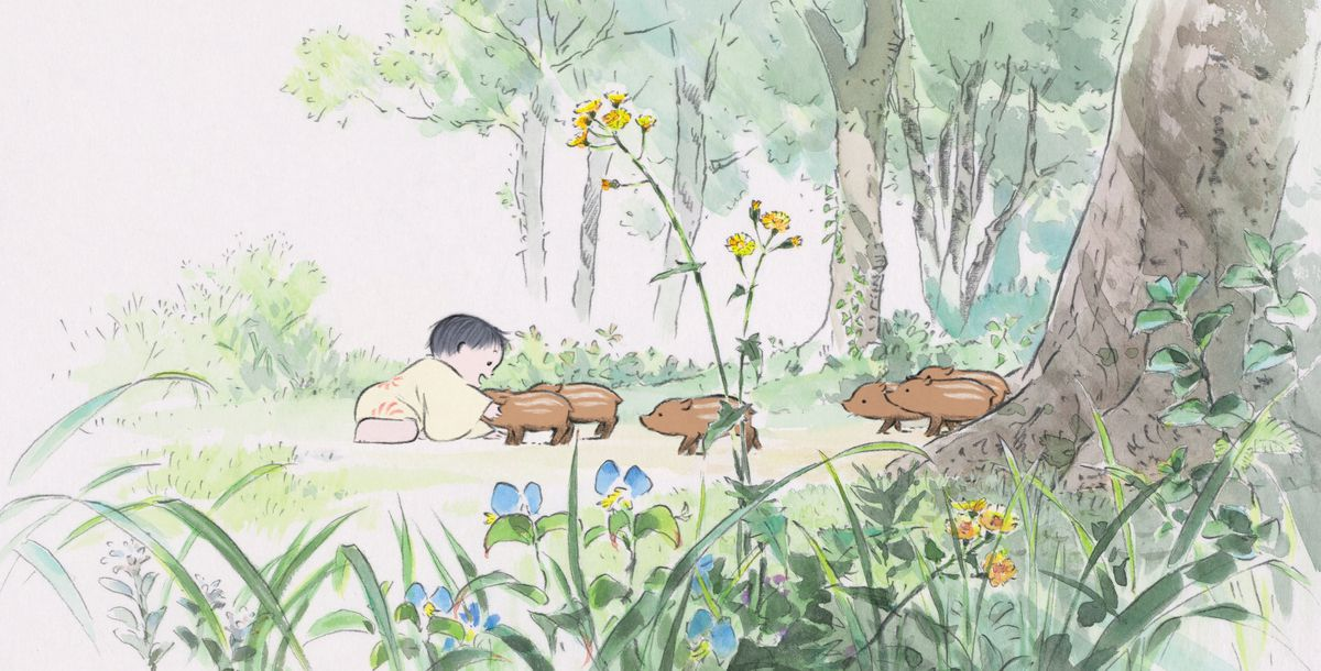 A small Japanese child in a wide-sleeved robe reaches out to touch a wild boar piglet in Studio Ghibli's animated feature The Tale of Princess Kaguya