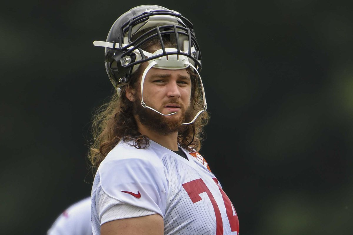 Atlanta Falcons offensive tackle Ty Sambrailo on the field during mini camp at Falcons Training Complex.