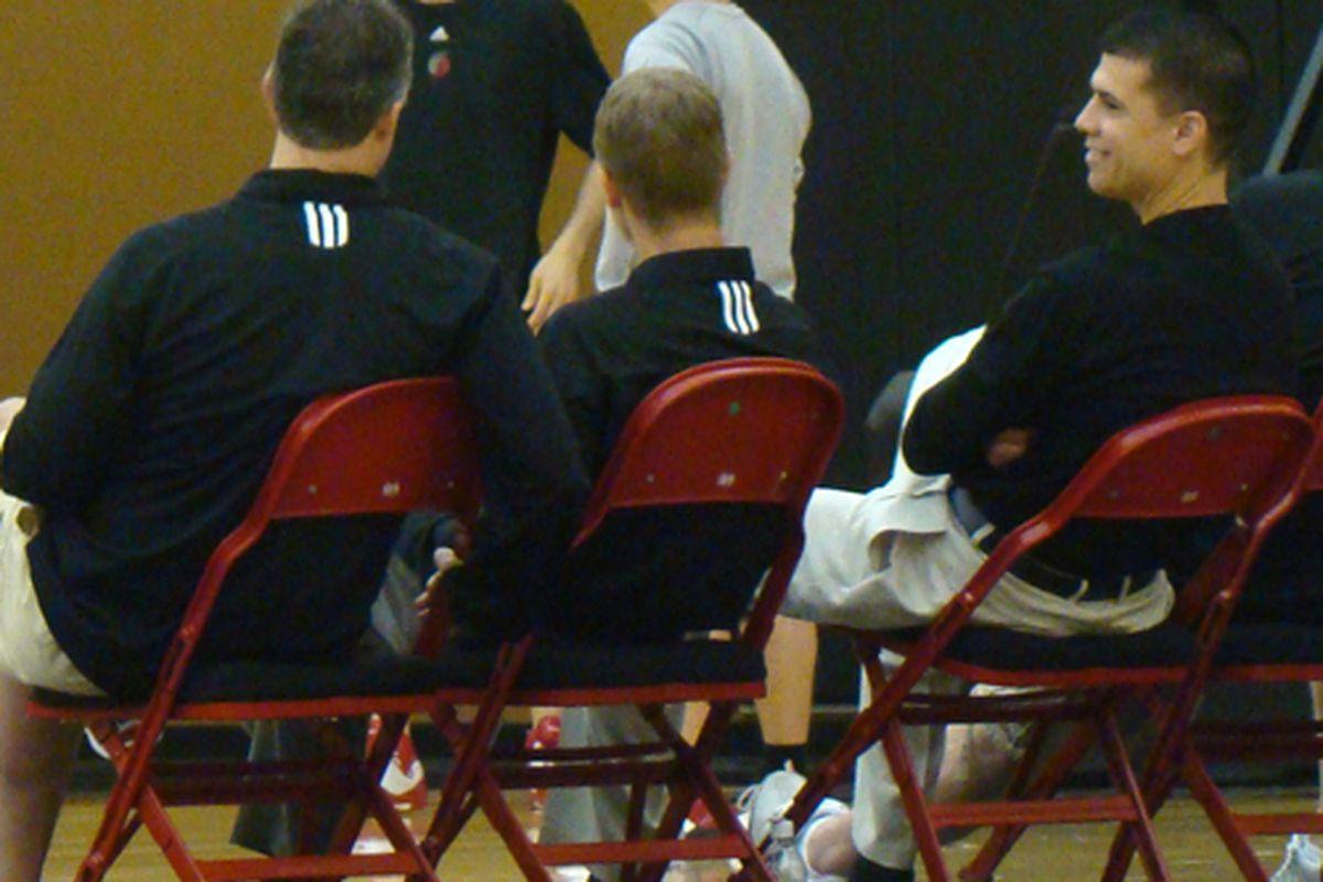 Kevin Pritchard, Mike Born and Chad Buchanan evaluate draft prospects last week.  <em>Photo: Ben Golliver   Blazersedge</em>