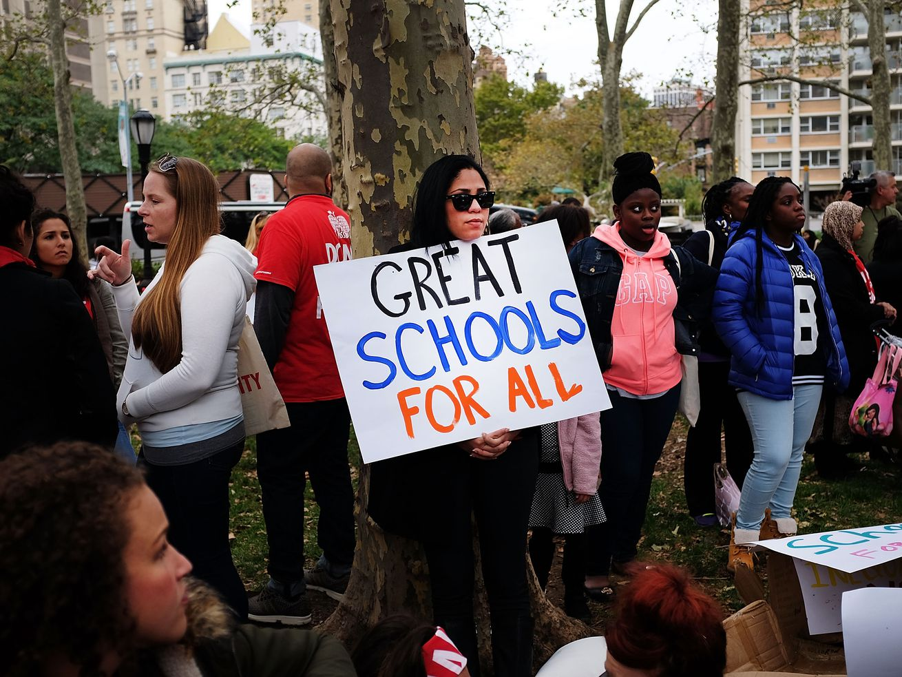 A rally protesting unequal education in New York City schools on October 7, 2015.