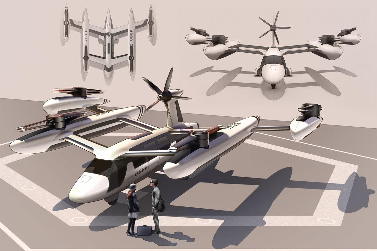 A photo of a prototype of Uber's vision for the future of unmanned flying cars