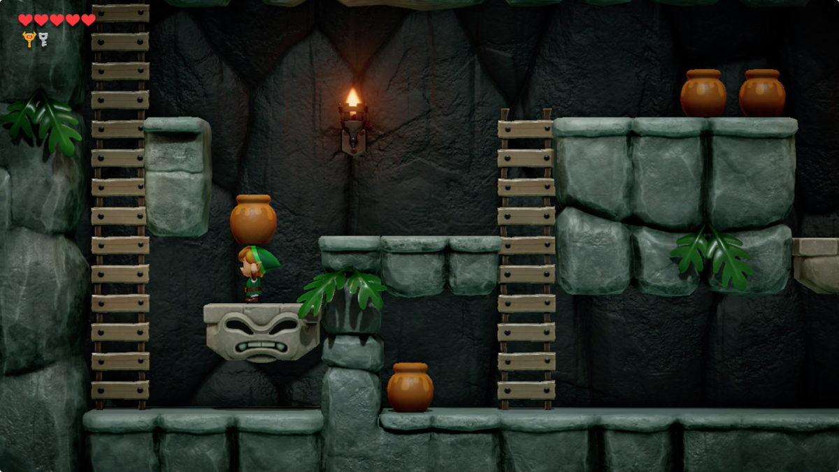 Link's Awakening carrying a pot to weigh down a platform in the sidescrolling tunnel