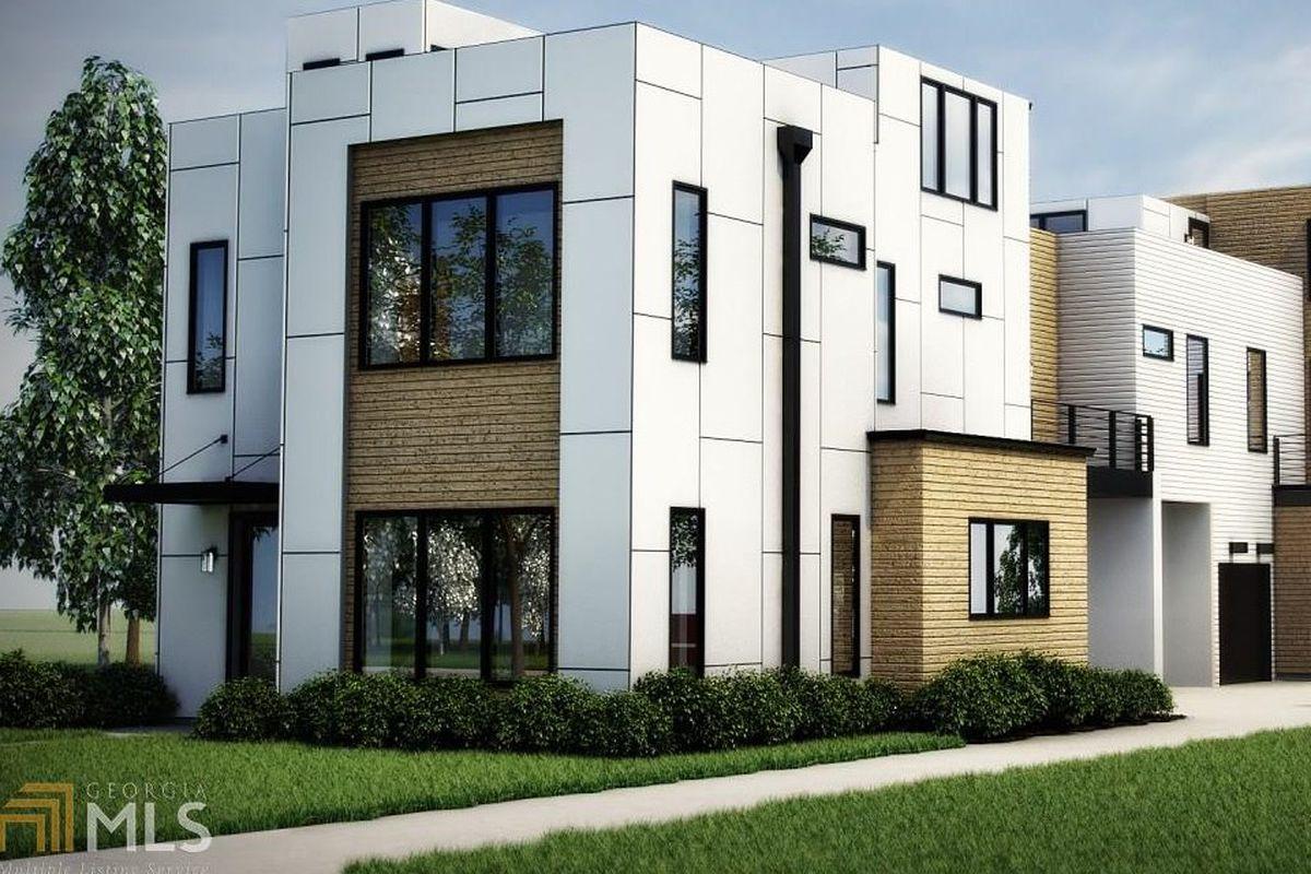 A rendering of a white modern duplex in Reynoldstown Atlanta.