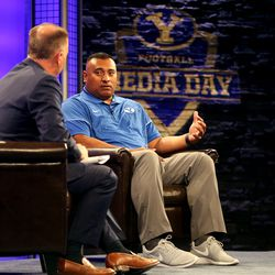 Dave McCann interviews Kalani Sitake, head coach, during BYU Football Media Day at BYU Broadcasting in Provo on Friday, June 23, 2017.