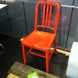 The chairs made of recycled soda bottles.