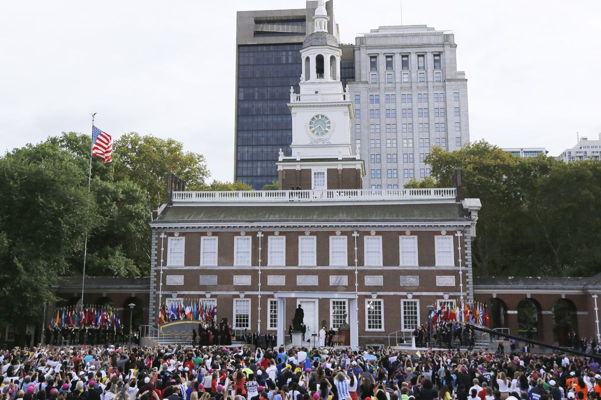 Pope Francis Visits Independence Hall In Philadelphia