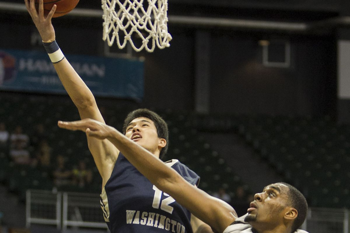 George Washington's Yuta Watanabe who made the game-saving block against the Billikens to preserve a 75-72 victory on Tuesday, January 6th, 2015