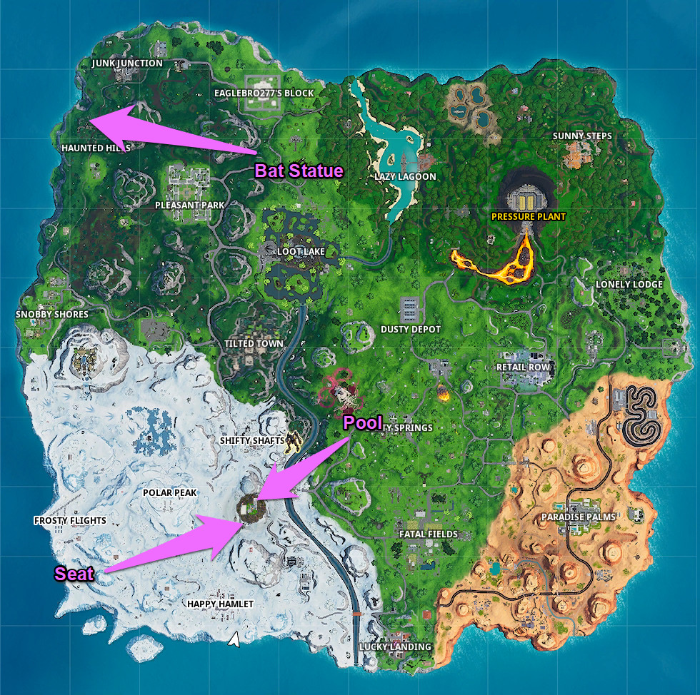 A Fortnite map with the locations of dances for this mission marked