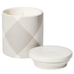 Ceramic Vase Candle in Grey/White  Plaid, $15