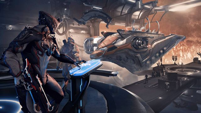 A futuristic, armored character works at a computer panel overlooking a spacecraft in drydock