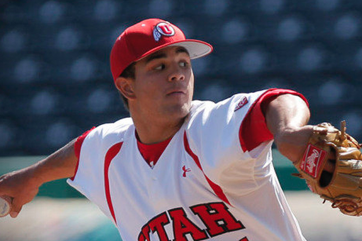 Utah pitcher Dalton Carroll kicks and fires on his way to a complete game 5-1 victory over the Kansas Jayhawks.