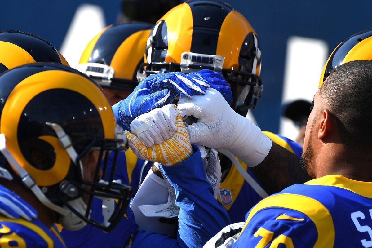 The Los Angeles Rams defense huddles before their Week 10 game against the Seattle Seahawks, Nov. 11, 2018.