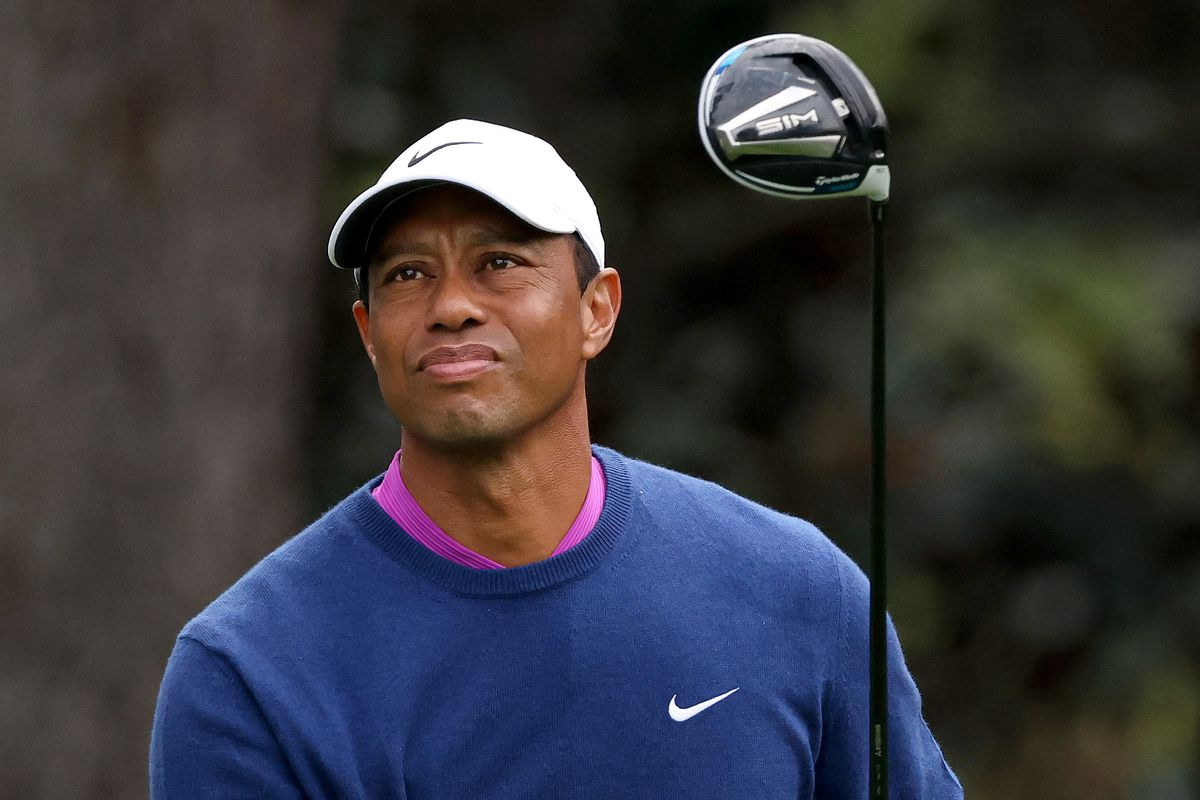 Tiger Woods of the United States plays his shot from the 15th tee during the continuation of the second round of the Masters at Augusta National Golf Club on November 14, 2020 in Augusta, Georgia.