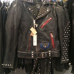 Leather jacket, $349.50 (was $1,398)