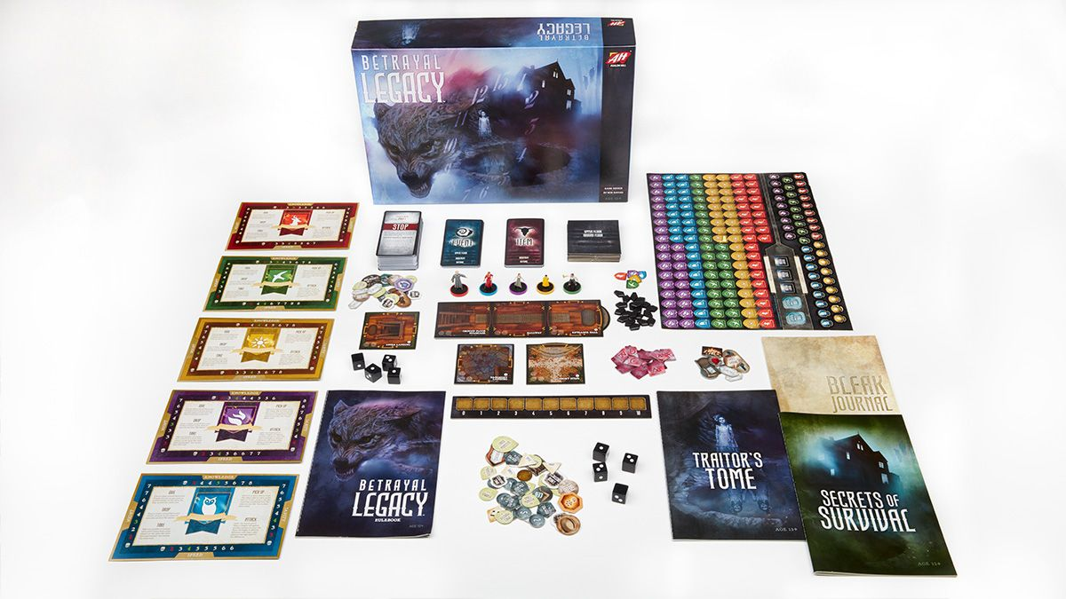 The contents inside the box of Betrayal Legacy.