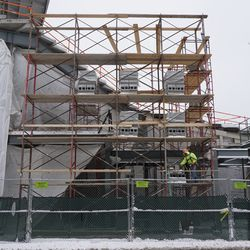 Another view of the scaffolding, in the right field corner