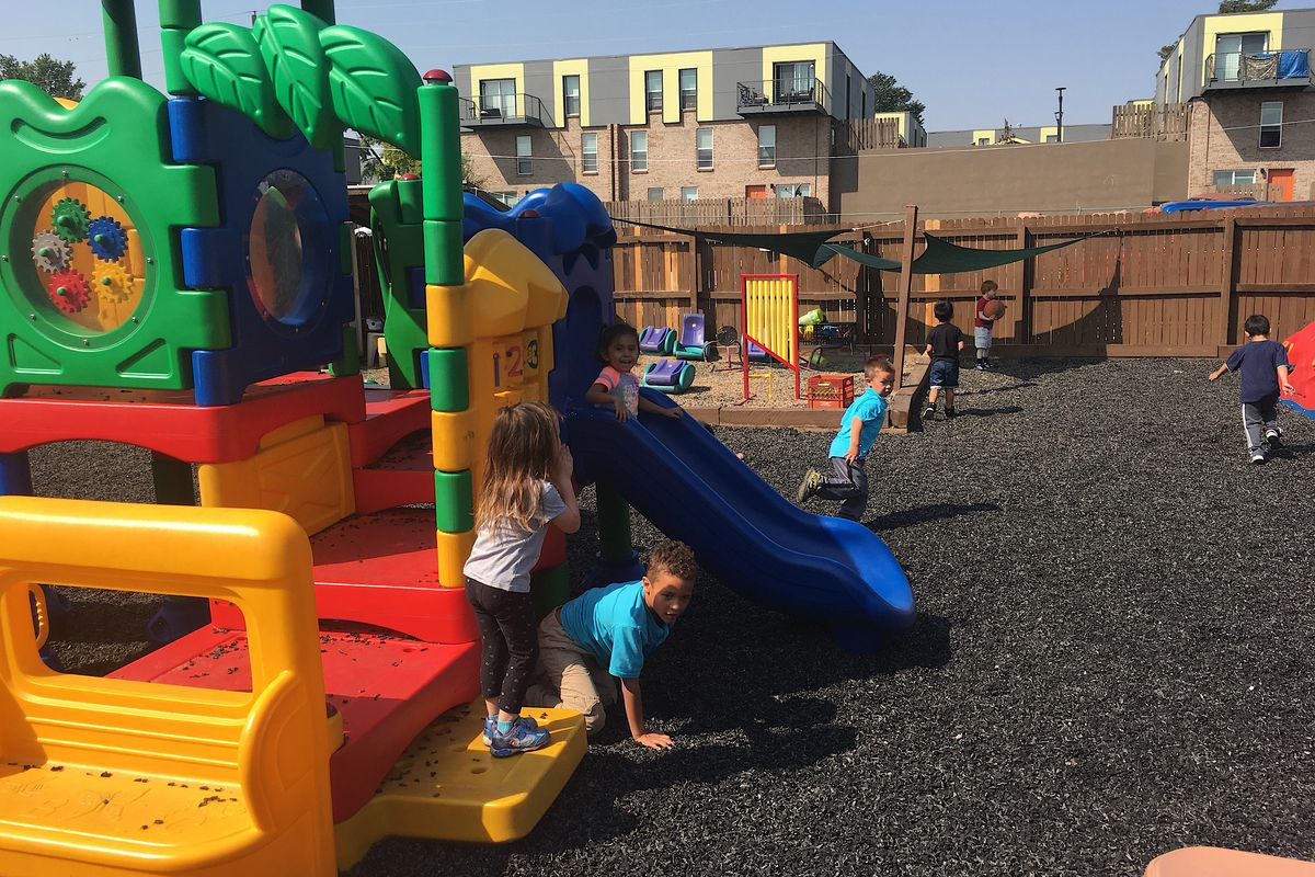 This play structure at Step By Step Child Development Center in Northglenn will go away under a plan to create a more natural and engaging outdoor play space.