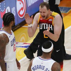 Utah Jazz guard Joe Ingles (2) celebrates a 3-pointer against the LA Clippers during Game 2 of the Western Conference semifinals in Salt Lake City on Thursday, June 10, 2021.