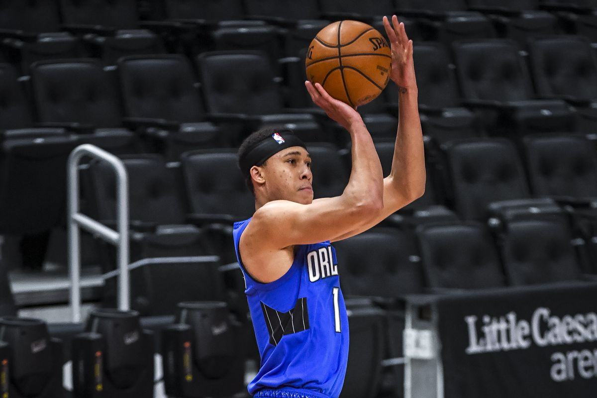 R.J. Hampton of the Orlando Magic shoots the ball against the Detroit Pistons during the fourth quarter of the NBA game at Little Caesars Arena on May 03, 2021 in Detroit, Michigan.