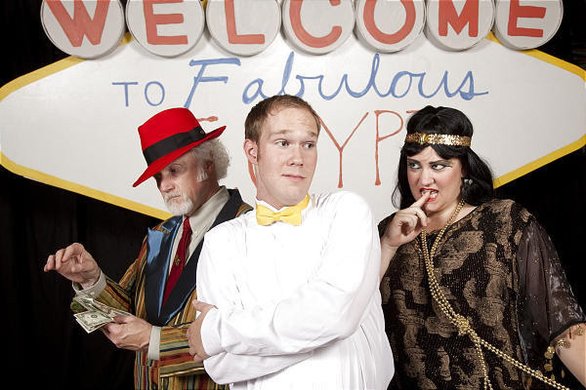 """Jim Murphy, left, stars as Potiphar with Jason Millar as Joseph and Suzy Greenwood-Fox as Mrs. Potiphar in the musical """"Joseph and the Amazing Technicolor Dreamcoat."""""""