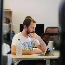 Blyncsy engineer Matt Sadauckas works at the company's office in Salt Lake City on Friday, July 14, 2017. Blyncsy has developed anonymized tracking of cellphones combined with data crunching to help solve transportation and movement dilemmas.