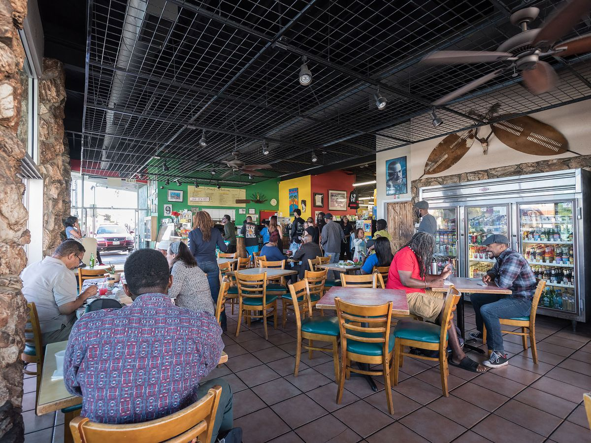 The dining room at Simply Wholesome in South Los Angeles, California