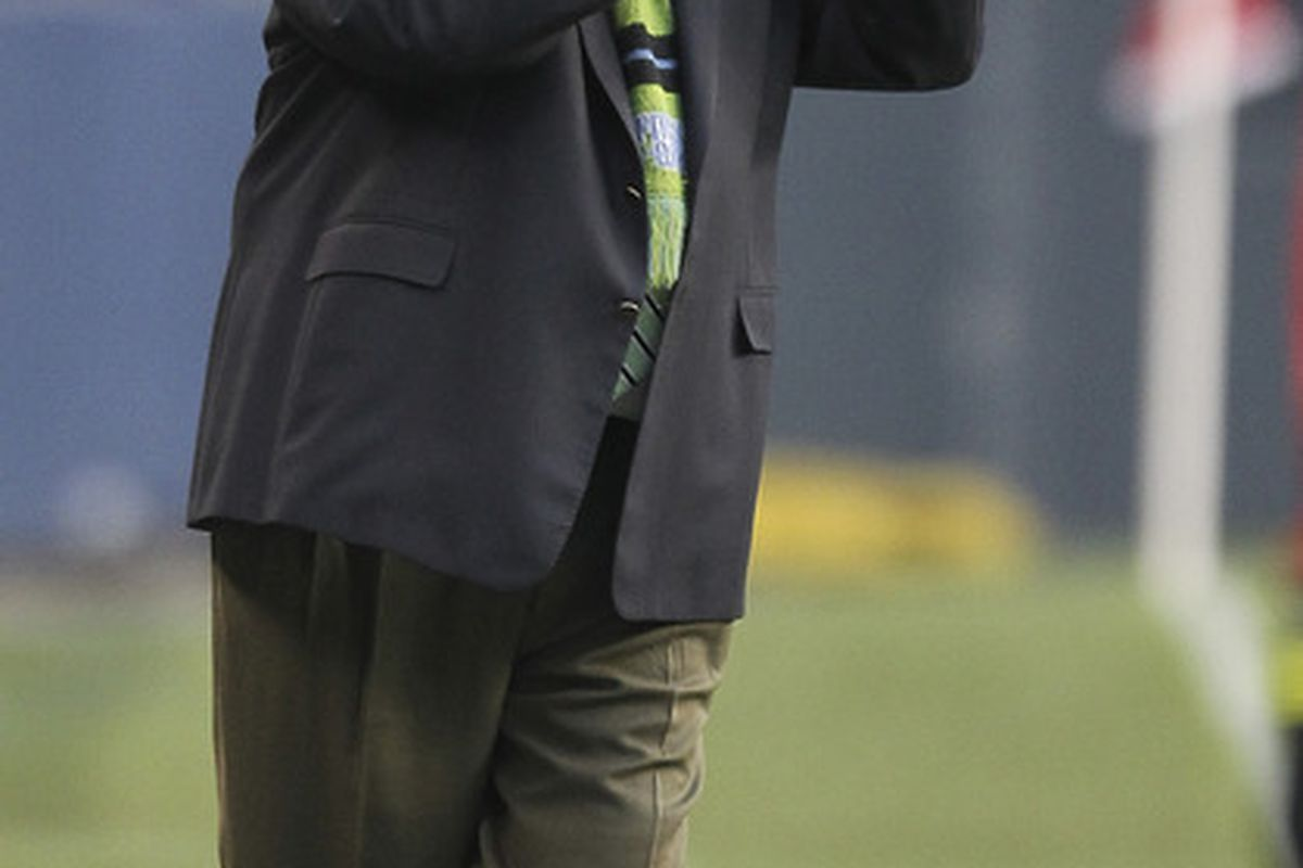 Seattle Sounders coach Sigi Schmid signed a contract extension to remain with the team through the 2015 season. (Photo by Otto Greule Jr/Getty Images)
