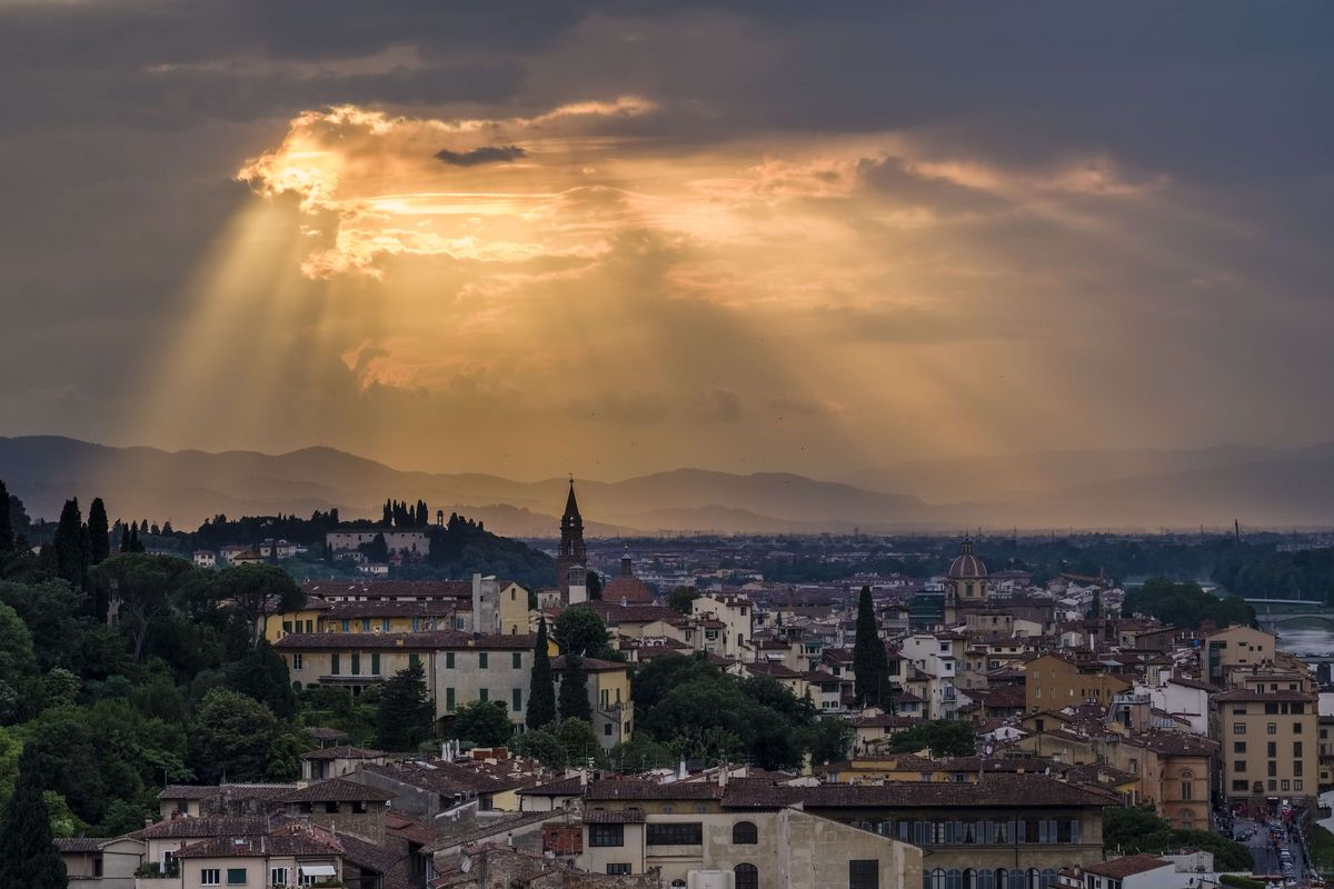 Aerial view on town from Piazza Michelangelo at sunset...