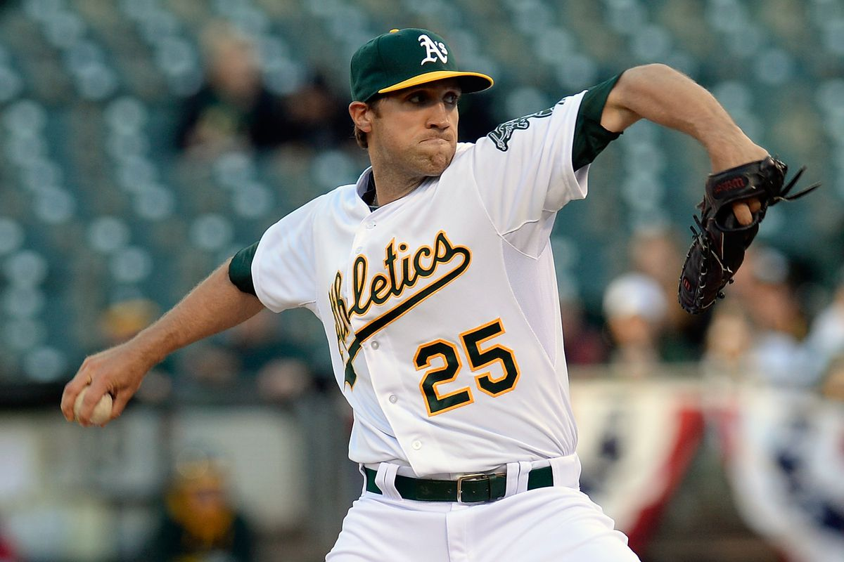 Josh Lindblom pitches in his only major league appearance for the Athletics.