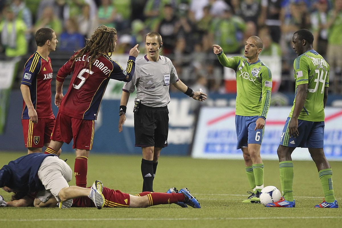 When Real Salt Lake and the Sounders face each other on the pitch, things often get a bit chippy, will we see on the pitch fireworks on the 4th of July at Rio Tinto Stadium? (Photo by Otto Greule Jr/Getty Images)