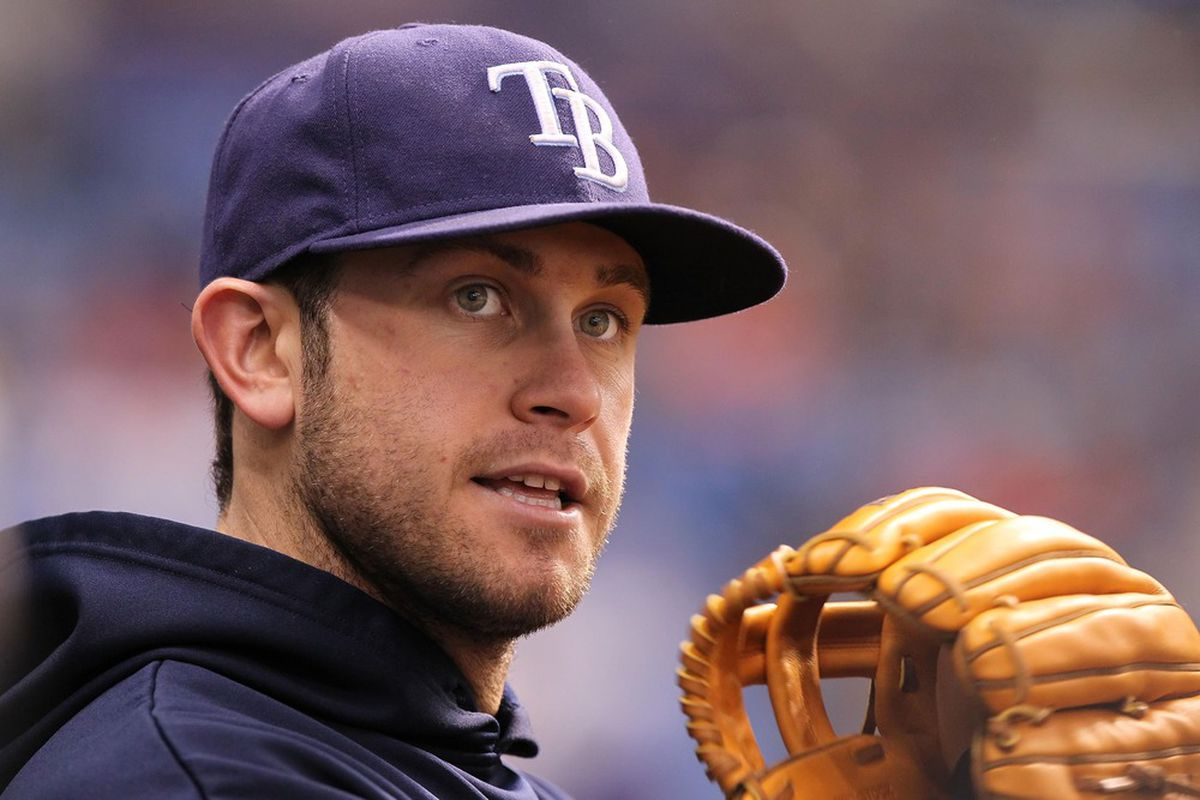 May 17, 2012; St. Petersburg, FL, USA; Tampa Bay Rays third baseman Evan Longoria (3) in the dugout against the Boston Red Sox at Tropicana Field. Mandatory Credit: Kim Klement-US PRESSWIRE